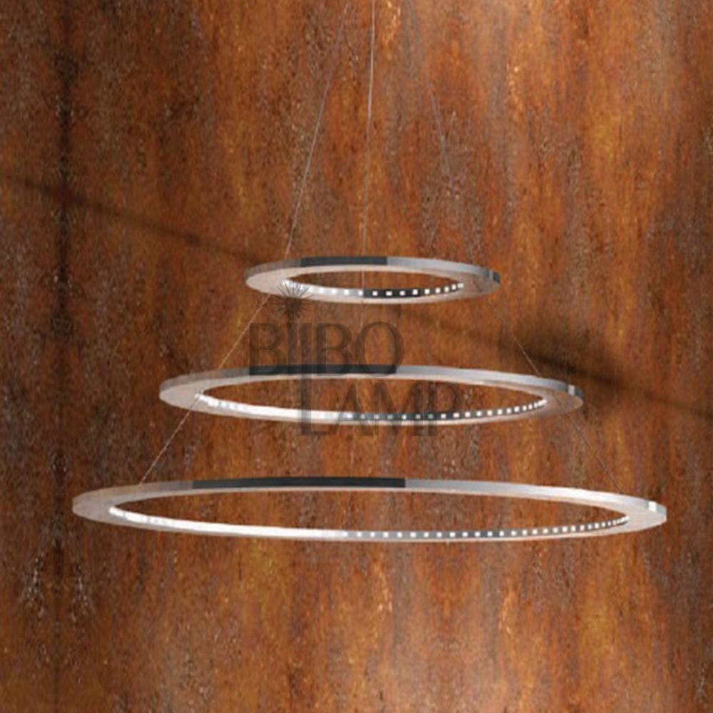 Lámpara Colgante de 3 Aros de Led en Cromo de Bilbolamp