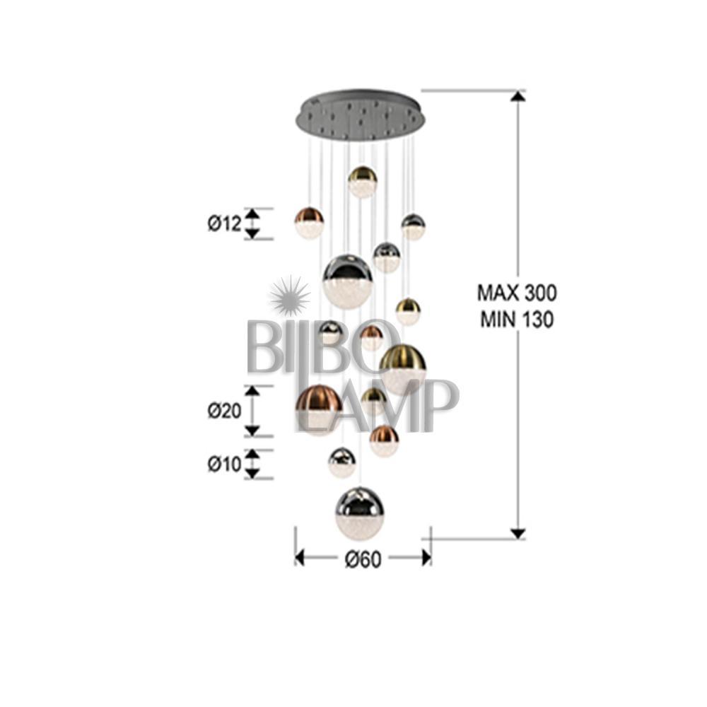 Lámpara Colgante Sphere en Led de 14 Luces Esféricas con Mando a Distancia de Bilbolamp