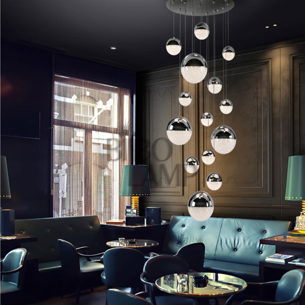 Lámpara Colgante Sphere en Led de 14 Luces Esférica en Cromo con Mando a Distancia de Bilbolamp