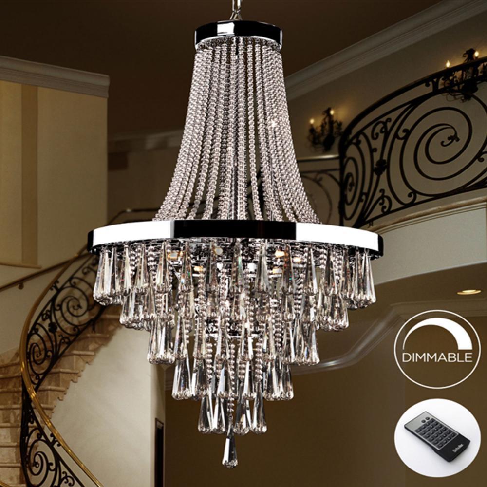 Lámpara Palace de Cristal Imperio en Cromo con Mando a Distancia de Bilbolamp