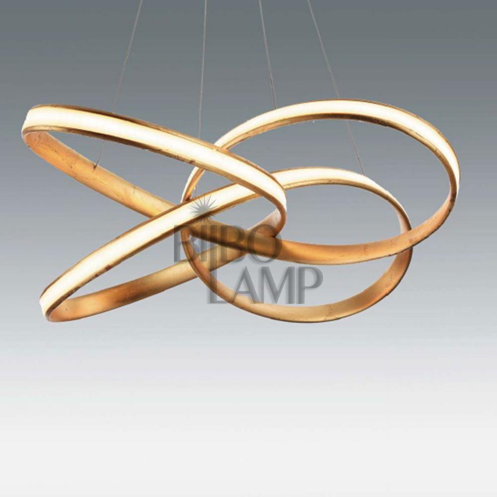 Lámpara Colgante de Altura Regulable en Led con Mando a Distancia en Pan de Oro o Pan de Plata de Bilbolamp