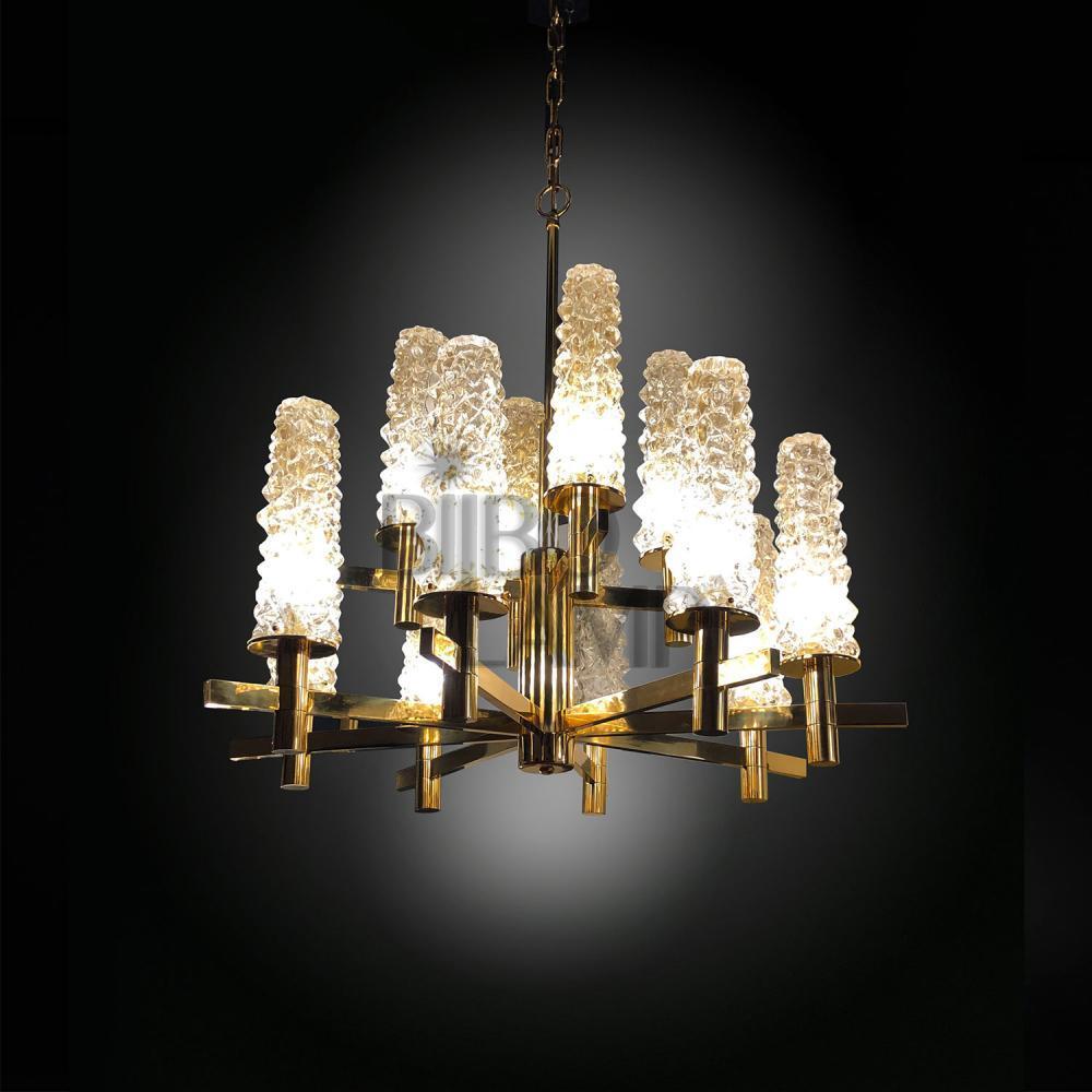 Lámpara de Diseño en Latón 12/Luces con Tulipas de Cristal de Bilbolamp