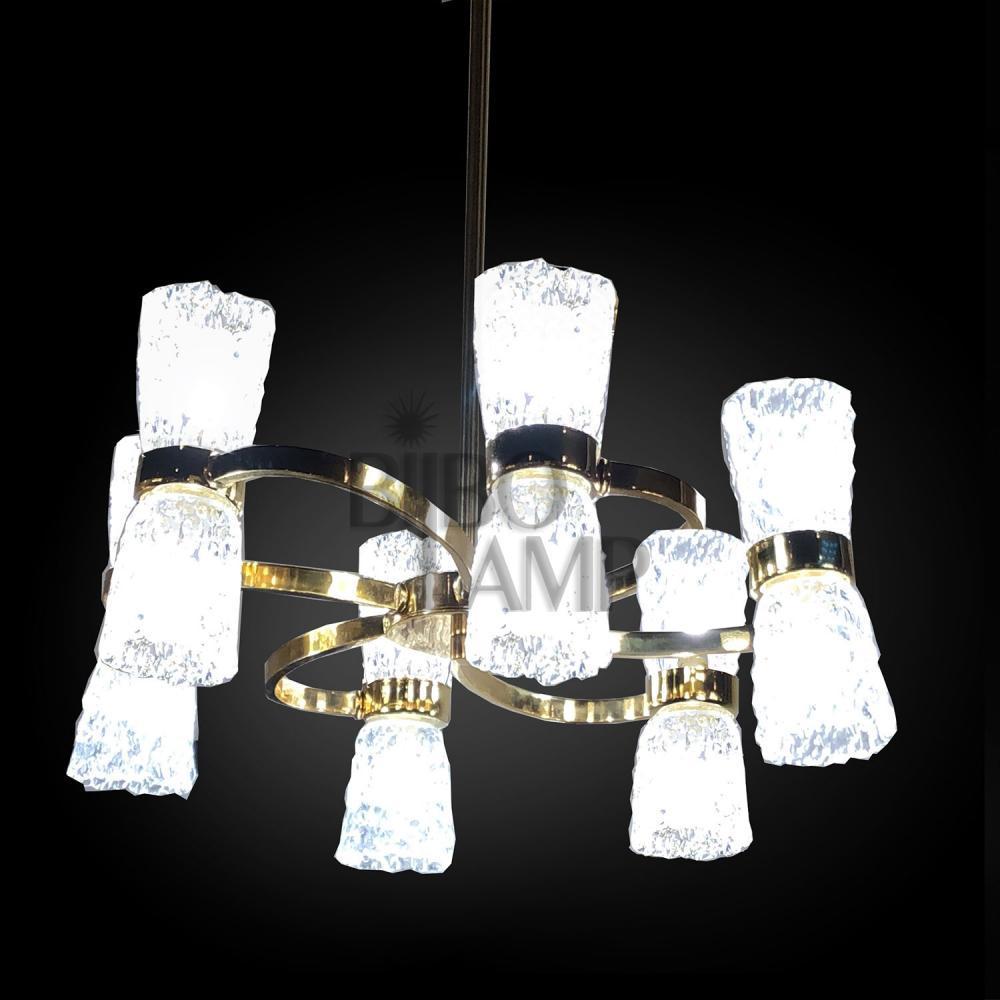 Lámpara de Diseño en Latón de 12/Luces en Baño Oro con Tulipas de Cristal de Bilbolamp