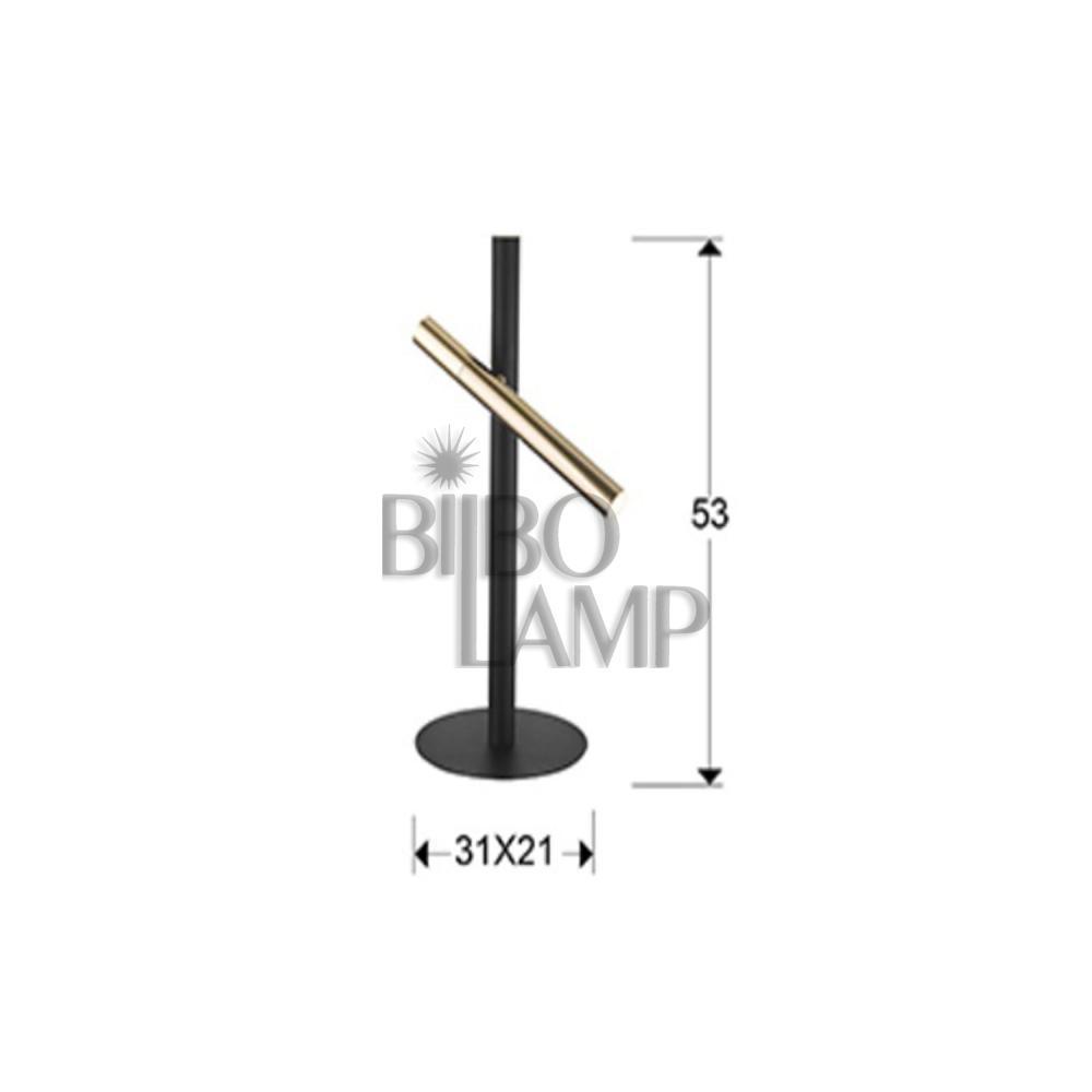 Lámpara de Sobremesa Varas en Led de 2 luces combinada en Oro y Negro mate de Bilbolamp