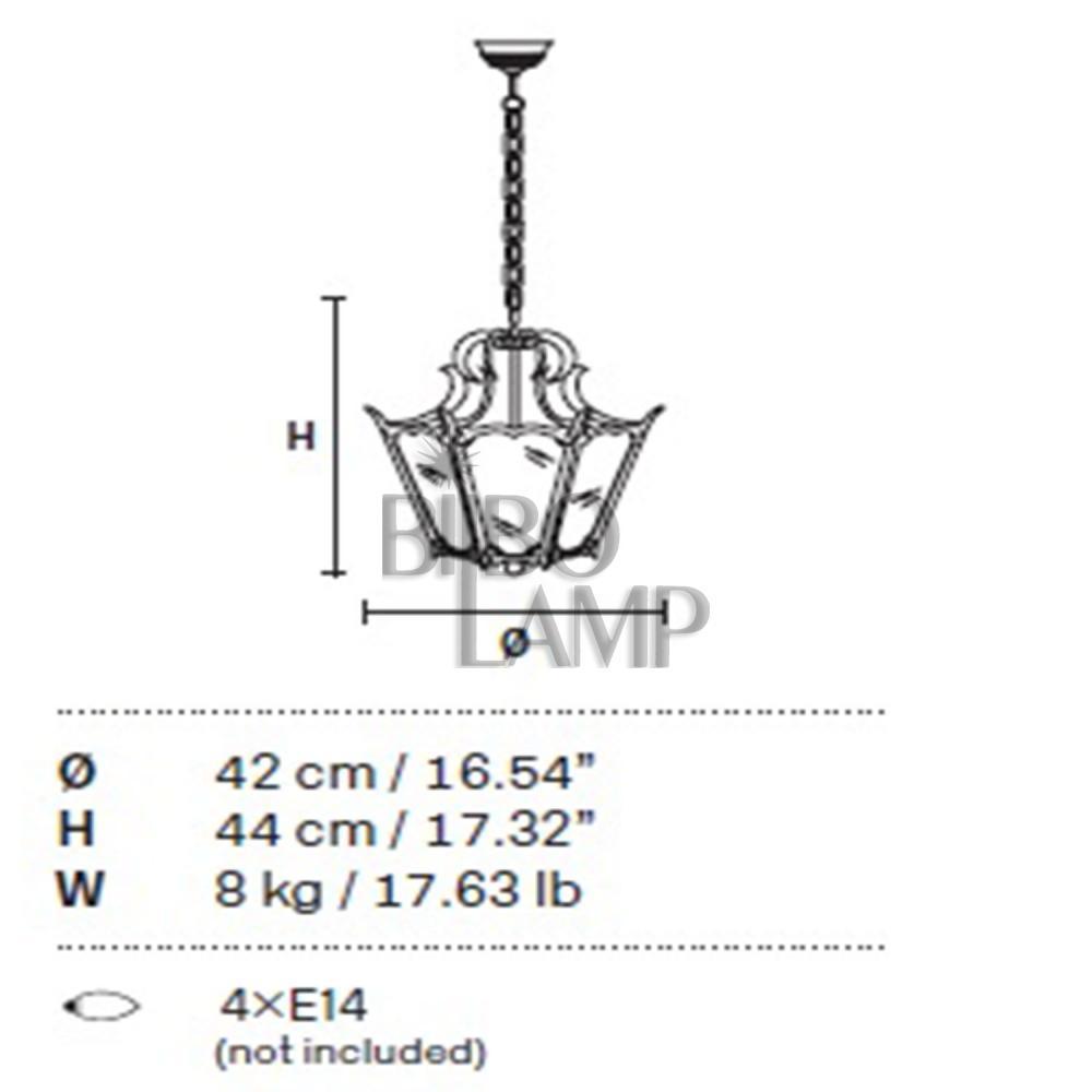 Farol Exagonal de Bronce con Cristal de 4/Luces de Bilbolamp