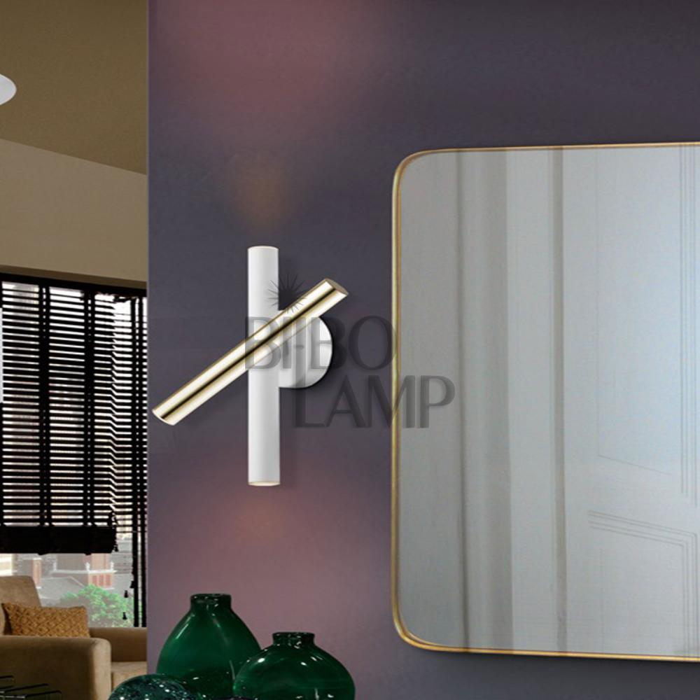 Lámpara Varas Rectangular de 14 luces en Oro y Blanco
