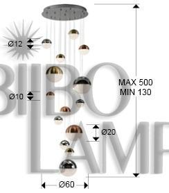 Lámpara Sphere Dimable de 14 Luces en Led de Bilbolamp
