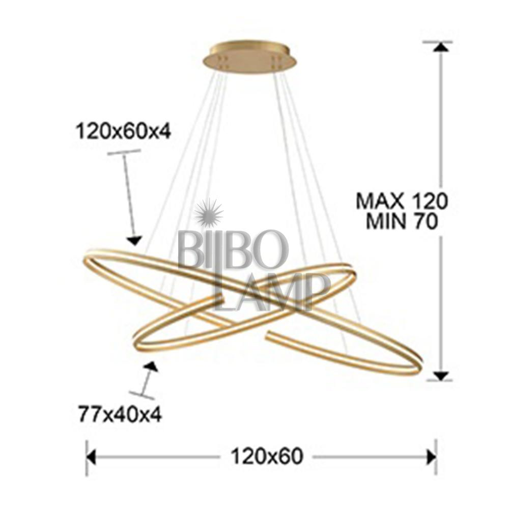 Lámpara Elipse Grande en Pan de Oro Dimable de Bilbolamp