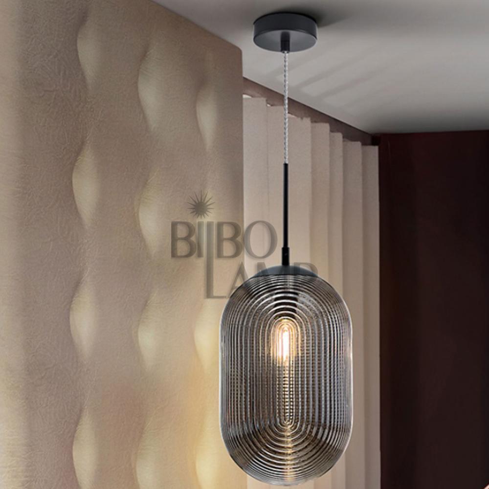 Colgante de 1 luz Tensai en color smoke Ø22 cm. de Bilbolamp