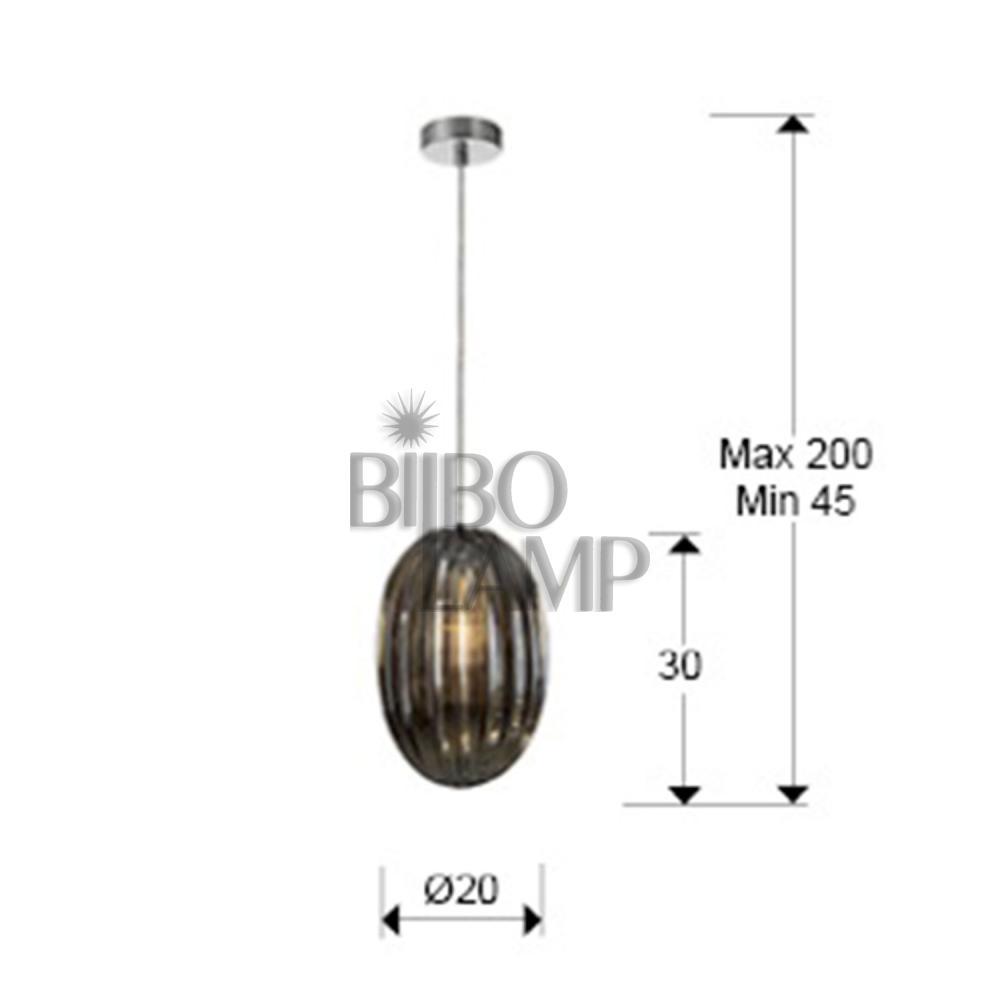 Colgante de Cristal Oliva Ø20cm  en Smoke de Bilbolamp