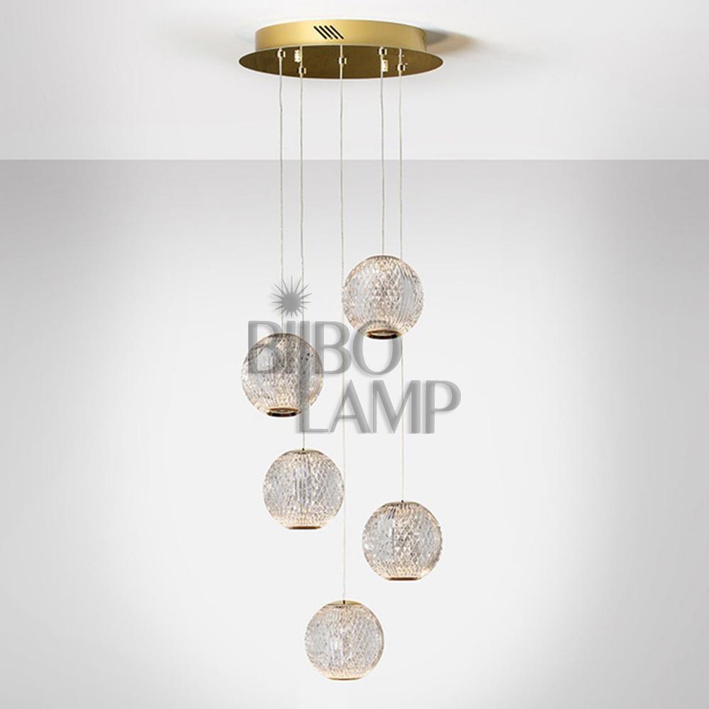 Lámpara Colgante Austral Redonda de 5 Luces en Led de Bilbolamp