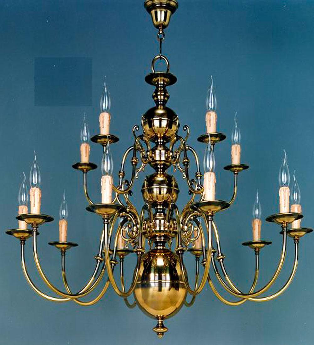 Lámpara Colgante Holandesa Clasica en cuero de 15 luces en dos pisos de Bilbolamp