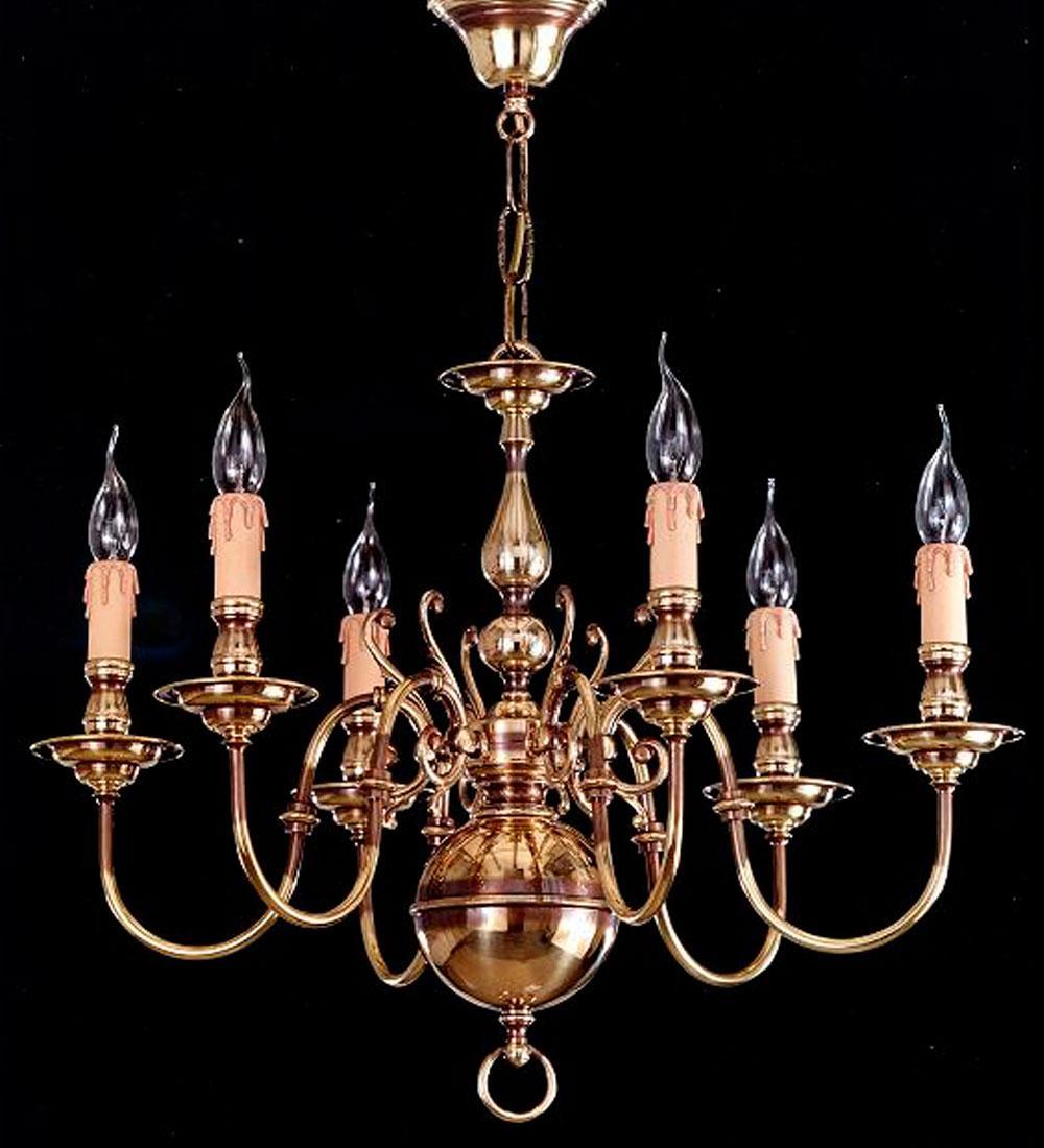 Lámpara Colgante Holandesa en Cuero de 6/Luces de Bilbolamp