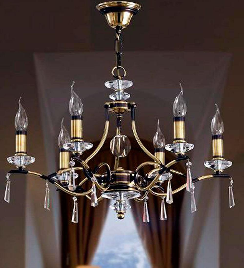 Lámpara Colgante Clásica de Laton   de 6/luces y cristal facetado de Bilbolamp