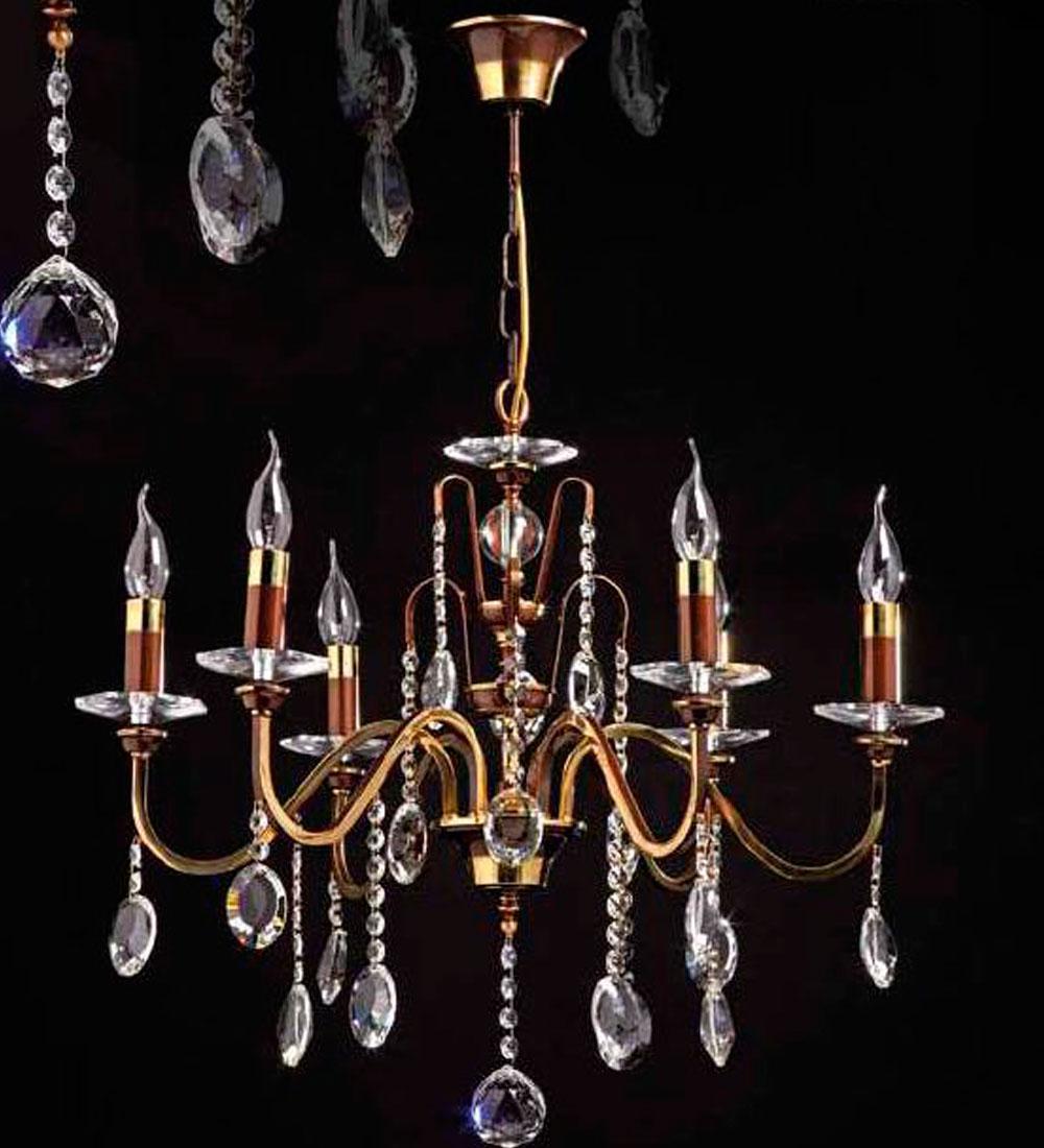 Lámpara Versalles de 8/Luces Cuero  de Bilbolamp